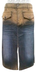 Bella Dahl vintage chic Denim Velour Split Skirt TAN/DENIM