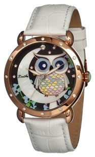 Bertha Ashley Owl and Moon Mother of Pearl Dial White Leather Ladies Watch BR3004