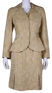 Beth Bowley Beth Bowley Womens Tan Floral Skirt Suit Med Rayon Blazer Above Knee