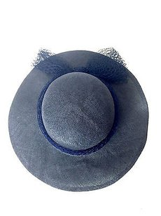 Betmar Vintage Betmar York Black Straw Sun Hat With Navy Netted Trim