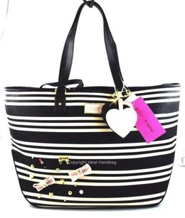 Betsey Johnson White Tote in Black