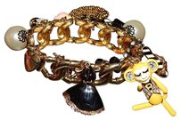 Betsey Johnson Betsey Johnson Vintage Monkeys Tuxedo Corset Heart Pearl Stretch Bracelet