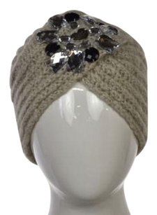Betsey Johnson Betsey Johnson Womens Gray Speckled Metallic Beanie One Acrylic Hat