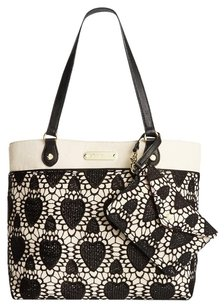 Betsey Johnson Canvas Lace Tote in BLACK