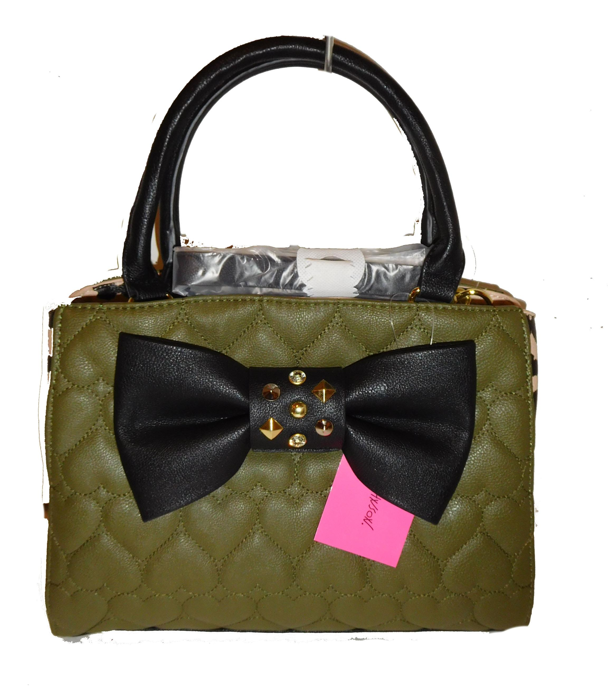 Betsey Johnson Green Faux Leather Triple Entry Animal