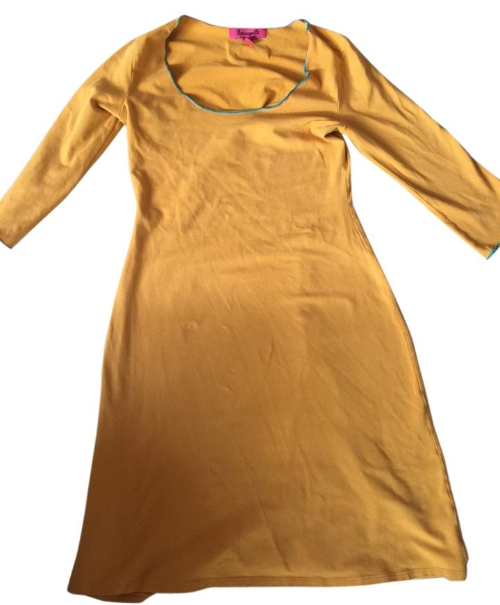Betsey Johnson Golden Yellow Betseyville Yellow Teal Gold Small Fitted Shirt T-shirt Dress