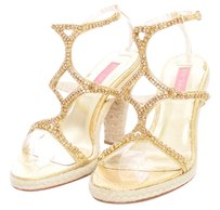 Betsey Johnson Rhinestone High Heel Bling Rope Rattan Snakeskin Strappy Rhinestone Gold Platforms