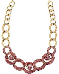 Betsey Johnson New! Betsey Johnson 'Pinkalicious' Pink Crystal Oval Links Hearts Necklace B08251