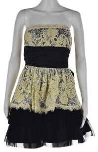 Betsey Johnson Womens Black Floral Lace Above Knee Sheath Dress