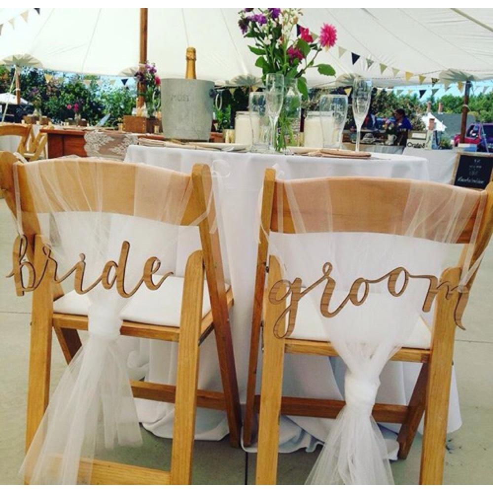 BHLDN Natural Bride and Groom Chair Signs Reception Decoration & BHLDN Natural Bride and Groom Chair Signs Reception Decoration - Tradesy