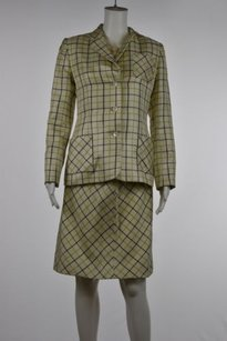 Bill Blass Bill Blass Womens Beige Plaid Skirt Suit Silk Knee Length Blazer Top Career