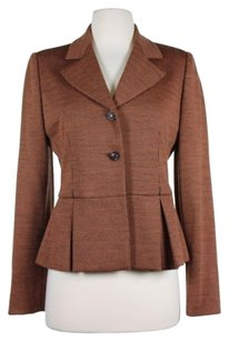 Bill Blass Bill Blass Womens Orange Brown Blazer Jacket Long Sleeve Two Button