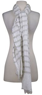 Bindya New York Bindya Womens White Brown Beige Striped Scarf One Flax