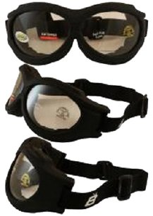 Birdz Eyewear Birdz Buzzard Black Frame Motorcycle Goggles with Clear Shatterproof Anti-Fog Polycarbonate Lenses and Vented Open Cell Foam
