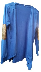 BKE Elbow Patches Embellished Top royal blue
