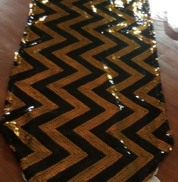 Black And Gold 15 Chevron Table Runners Tablecloth