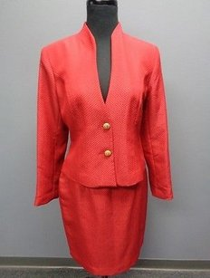 Bloomingdale's Bloomingdales Crimson Red Lined Textured Polyester Skirt Suit 8p Sma3746