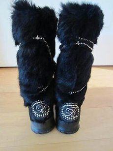 Blumarine Pony Hair W Rabbit Interior Adorned W Crystal Pearls Blacks Boots