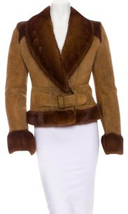 Blumarine Leather Mink Sherling Suede Brown Leather Jacket