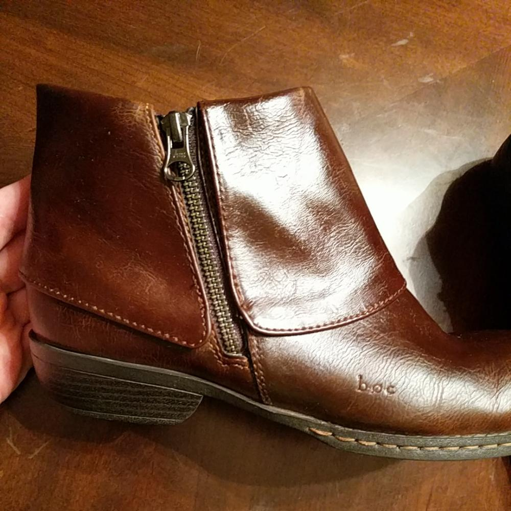 b o c c17106 flap ankle rich brown leather boots