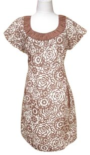 Boden short dress Brown Cream Linen Knee Length on Tradesy