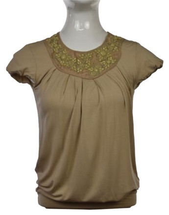 Bordeaux Womens Beige Color Block Knit Top Short Sleeve Casual Shirt free shipping