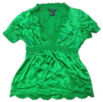 Boston Proper Silk Paisley Embroidered Stretchy Top GREEN