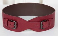 Bottega Veneta Bottega Veneta Womens Red Leather Wide Double-buckle Overlap Waist Belt 7530