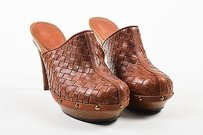 Bottega Veneta Woven Brown Mules