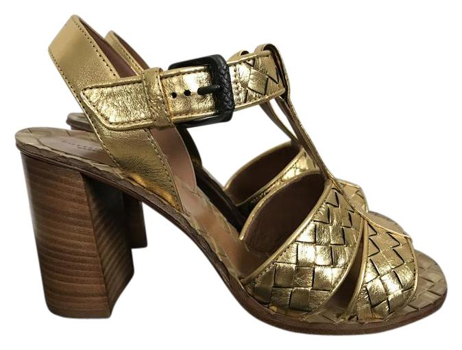 Bottega Veneta Gold Ravello Woven Leather Chunky Sandals Size EU 36.5 (Approx. US 6.5) Regular (M, B)