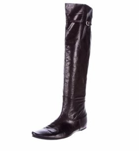 Bottega Veneta Womens Leather Otk Thigh High Tall Flat Black Boots
