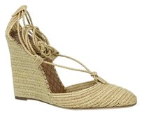 Bottega Veneta Straw Wedge Beige Sandals