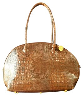 Brahmin Crocodile Gold Hardware Classic Brown Shoulder Bag