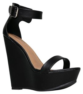 Breckelle's Ankle-strap Heels-and-pumps High-heel Black Wedges