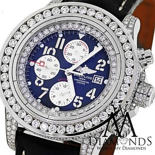 Breitling Breitling Super Avenger White A13370 15ct Diamond Watch On Leather Strap