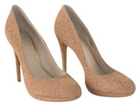 Brian Atwood Camel Glitter Brown Platforms