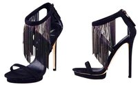 Brian Atwood Fringe Stiletto Sexy Stiletto Sandals Strappy Black Formal