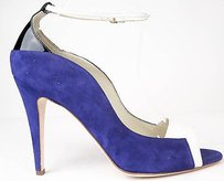 Brian Atwood Suede Leather Open Toe Heels Purple / White / Black Pumps