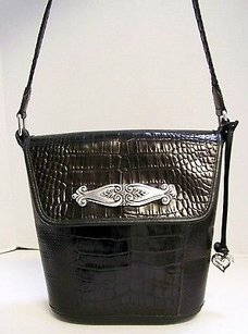 Brighton Black Leather Flap Shoulder Bag