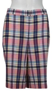 Brooks Brothers Womens Plaid Bermuda Cropped Shorts Pink