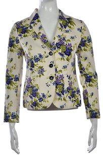 Brooks Brothers Brooks Brothers Womens Ivory Floral Blazer 0 Cotton Long Sleeve Career Jacket