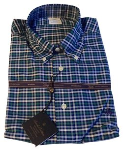 Brooks Brothers Button Down Shirt Blue, green & white