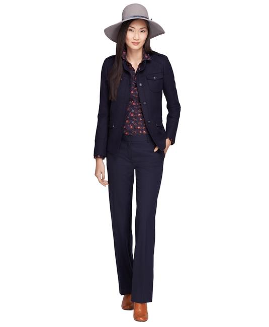Brooks Brothers Wool Hint Of Stretch Front-slant Pockets Imported Suit Wide Leg Pants Navy Blue