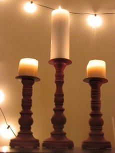 Brown Wood Pillar Candle Holder Wooden Distressed