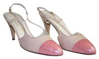 Bruno Magli Leather Snakeskin Cap Toe Slingback Aa Hsb9 Pink Pumps
