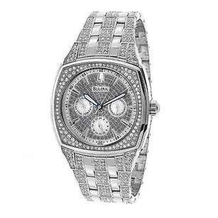 Bulova Mens Bulova Chronograph Watch With Round Crystal Stones