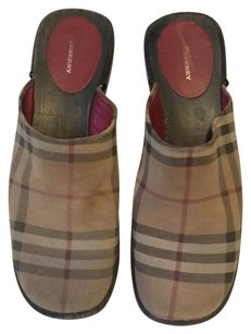 Burberry 41 Plaid Suede beige, black, red Mules