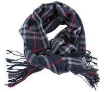 Burberry #9021 large Navy Check pattern 100% lambswool scarf