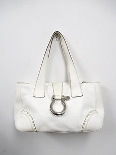 Burberry Pebbled Tote in White