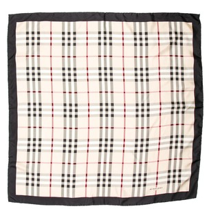 Burberry Black, beige, red Burberry Nova check plaid print silk scarf